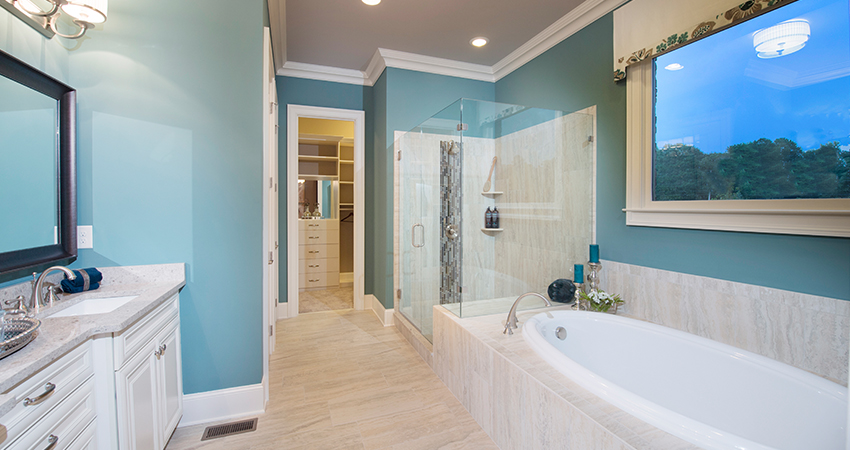 Some of the design details include granite countertops and separate soaking tubs and showers in the master bathrooms.