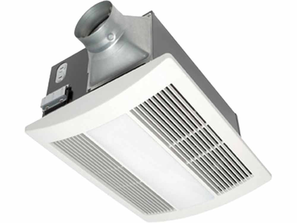 Panasonic WhisperWarm™ fans feature a totally enclosed condenser motor and a double-tapered, dolphin shaped bladed blower wheel to quietly move air. A small wheel turning very fast will create more noise than a large wheel turning more slowly for a given airflow. The fan uses a wide blower wheel that moves a large amount of air at reduced RPMs, so it is quiet enough that you might not even know it's on.. www.panasonic.com