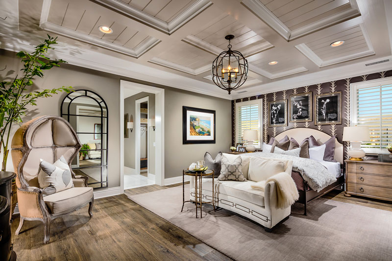 Coffered ceilings and ample space for a sitting area in the Avalon master bedroom.