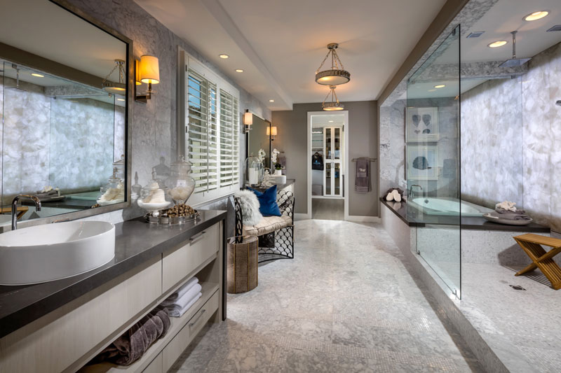 Generous master bathroom of the Santa Monica.