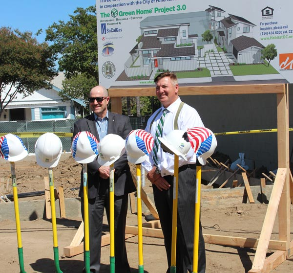 Mike Balsamo, Executive Director BIA Orange County, with ABC Green Home Developer Nick Slevin at The Ground Breaking Ceremony for ABC Green Home 3.0, in Fullerton CA