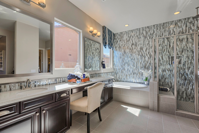 The master bathroom allows residents to begin and end the day in total comfort.