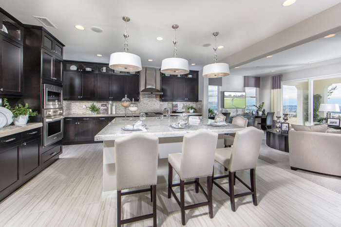Even the well-equipped and glamorous kitchen, boasting ENERGY STAR® appliances, takes advantage of the phenomenal view from the rear exterior of the homes.