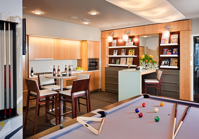 A reception area can serve as a gathering place for residents when the workday is over.