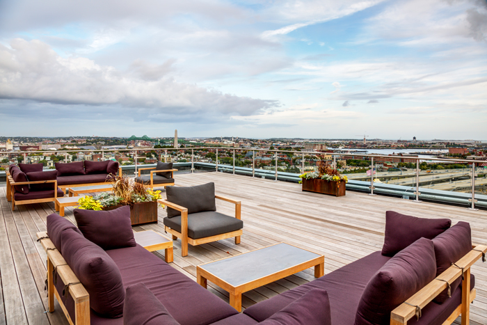 The building's roof deck offers unparalleled views of Boston.