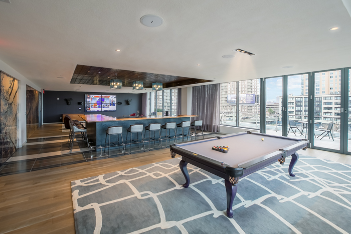 Billiard lounge helps residents interact with one another.