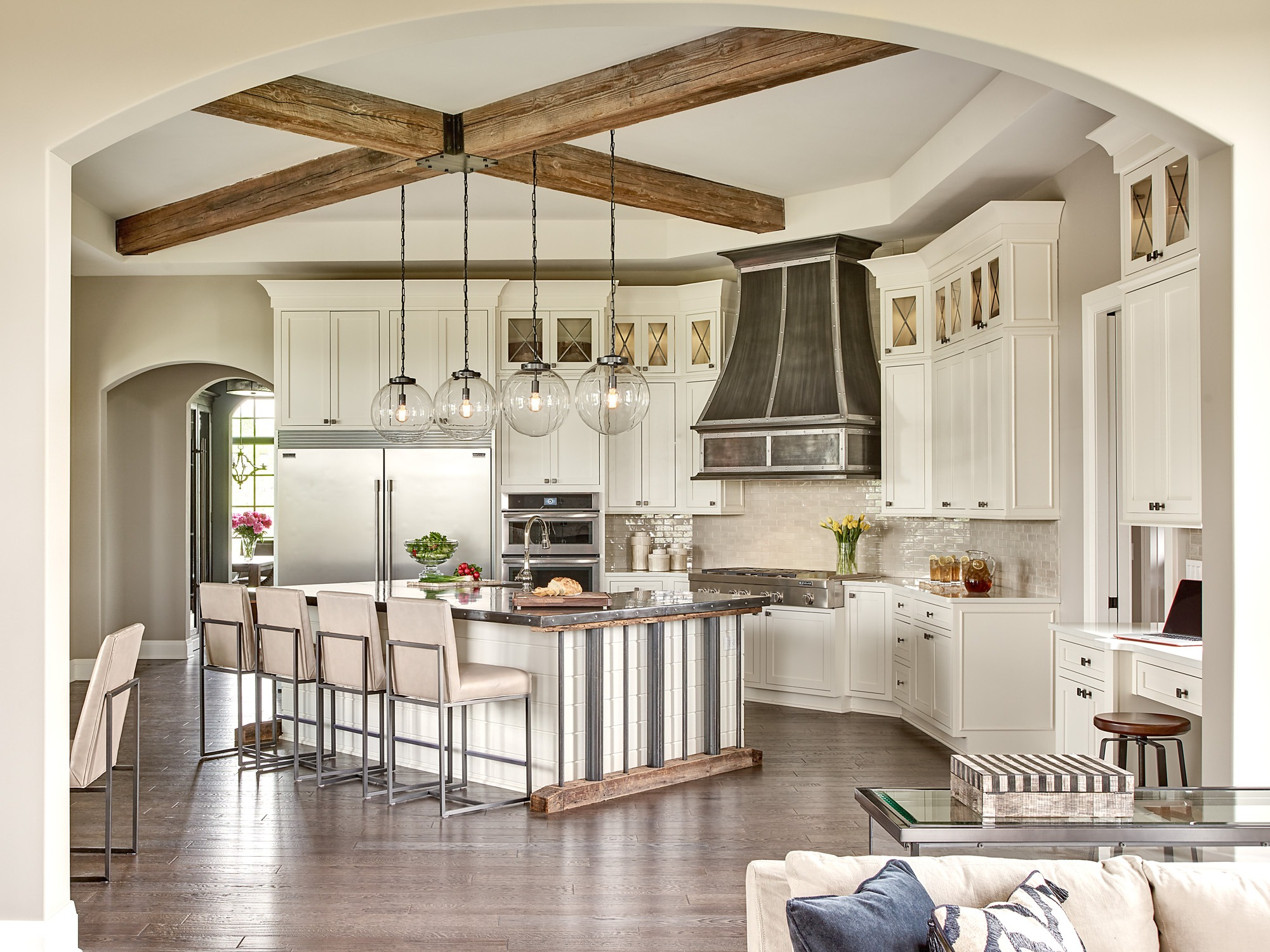 Captivating The Kitchen Went From Clean And Classic To Dazzling Thanks To Hand Wrought  Artisanal Touches That Include A Hand Forged Zinc Countertop And Stove Hood  And A ...